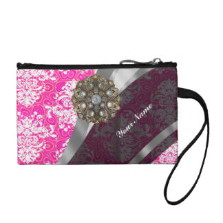 Pink and white vintage damask pattern coin purse