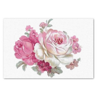 Pink and White Vintage Roses Tissue Paper