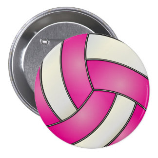 Pink and White Volleyball 7.5 Cm Round Badge