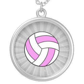 pink and white volleyball round pendant necklace