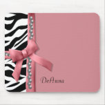 Pink And White Zebra Gems Mouse Mat