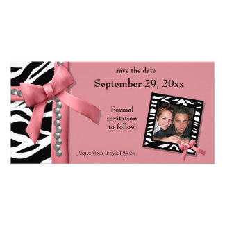 Pink And White Zebra Gems Save The Date Card Photo Card Template