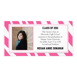 Pink and White Zebra Photo Graduation Invitation Photo Cards