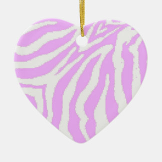 Pink and White Zebra Print Heart Ornament