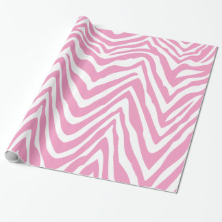 Pink and White Zebra Stripes Animal Print Wrapping Paper