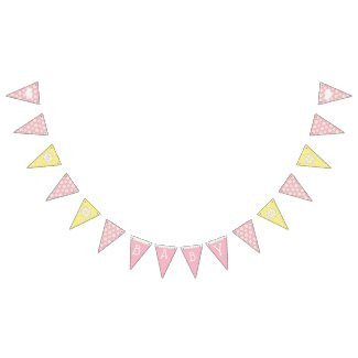 Pink and Yellow Baby Girl Daisy Themed Baby Shower Bunting