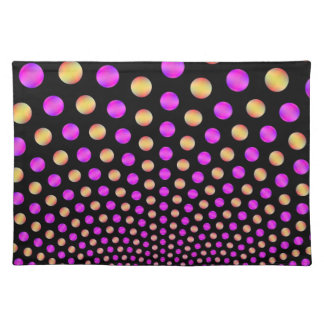 Pink and Yellow Balls on Black Placemats