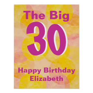 Pink and Yellow Birthday Poster