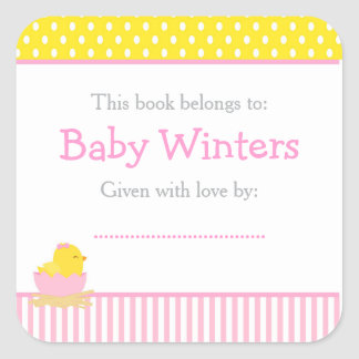Pink and Yellow Chick Baby Shower Bookplate Square Sticker