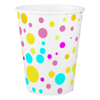 Pink and Yellow Confetti Birthday Party Cups
