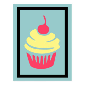 Pink and Yellow Cupcake with Cherry On Top Postcard