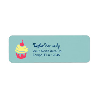 Pink and Yellow Cupcake with Cherry On Top Return Address Label
