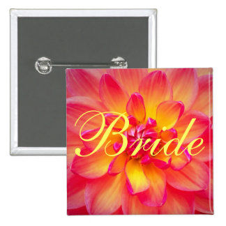 Pink and Yellow Dahlia Bride Pin