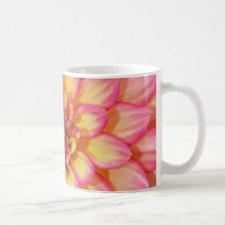 Pink and yellow dahlia flower blossoms coffee mug