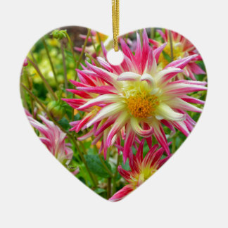 Pink and yellow dahlia flowers ceramic heart decoration