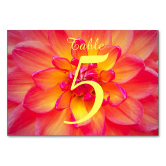 Pink and Yellow Dahlia Table Cards
