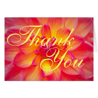 Pink and Yellow Dahlia Thank You Cards