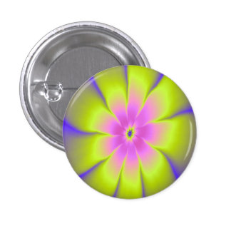 Pink and Yellow Daisy Button
