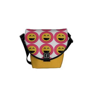 Pink and Yellow Emoji Rickshaw Messenger Bag