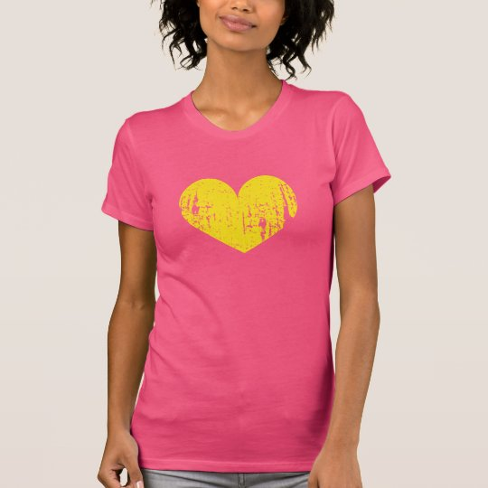 Pink and yellow faded worn vintage heart t