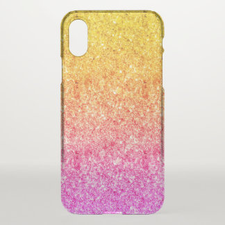 Pink And Yellow Faux Glitter Background iPhone X Case