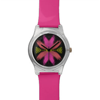 Pink and Yellow Feathery Flower Wristwatches