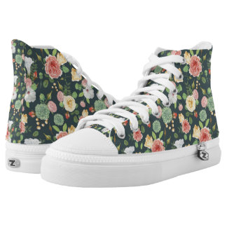 Pink and Yellow Floral on Green High Tops