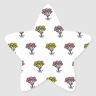 Pink and Yellow Flowers Star Sticker