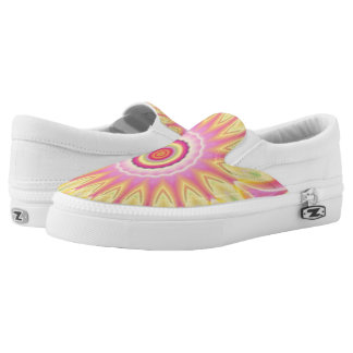 Pink and Yellow Fractal Flower Zipz Slip-ons
