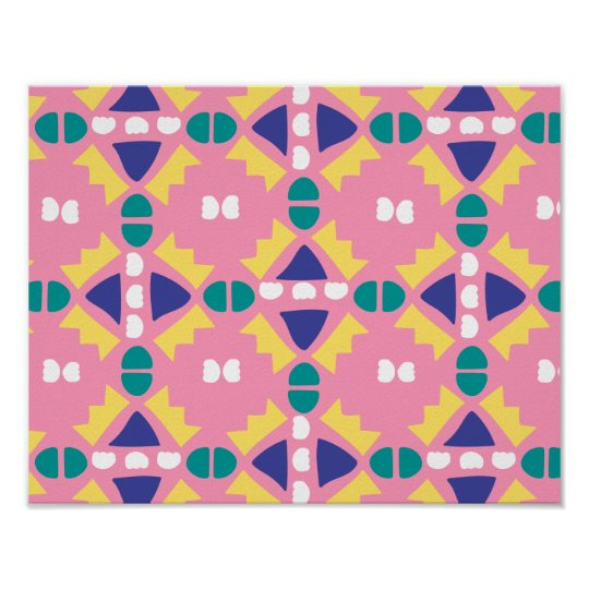 Pink and Yellow - Geometric - Poster Print