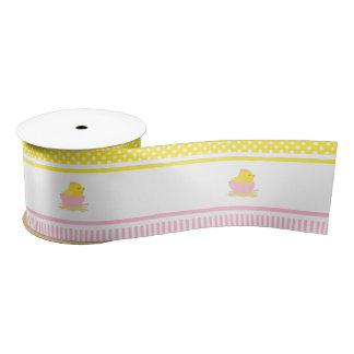 Pink and Yellow Girl Chick Satin Ribbon