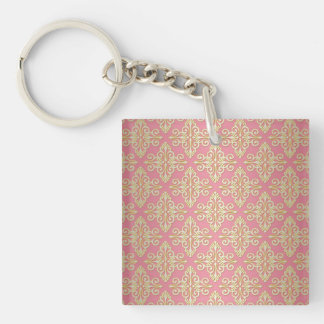 Pink and Yellow Girly Damask Single-Sided Square Acrylic Key Ring