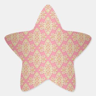 Pink and Yellow Girly Damask Star Sticker