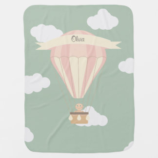 pink and yellow hot air balloon personalised baby blanket