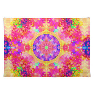 Pink and Yellow Kaleidoscope Fractal Art Placemat