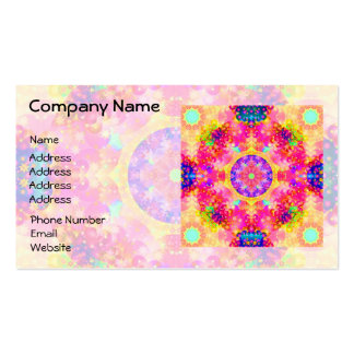 Pink and Yellow Kaleidoscope Fractal Business Card Template