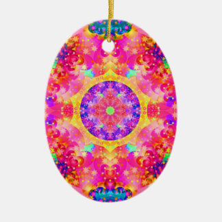 Pink and Yellow Kaleidoscope Fractal Christmas Ornament