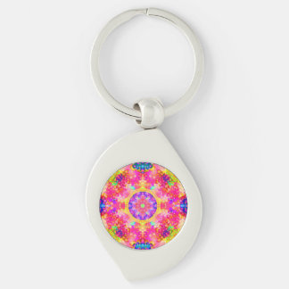 Pink and Yellow Kaleidoscope Fractal Key Chain