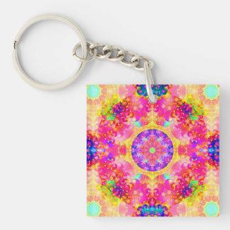 Pink and Yellow Kaleidoscope Fractal Acrylic Keychain