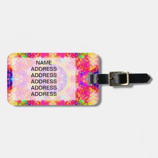 Pink and Yellow Kaleidoscope Fractal Luggage Tag