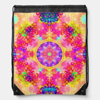 Pink and Yellow Kaleidoscope Fractal Drawstring Backpacks