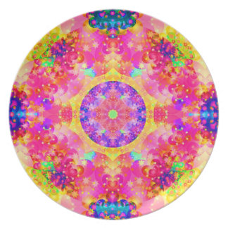 Pink and Yellow Kaleidoscope Fractal Plates
