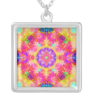 Pink and Yellow Kaleidoscope Fractal Silver Plated Necklace