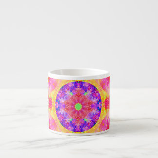 Pink and Yellow Kaleidoscope Fractal Espresso Cups