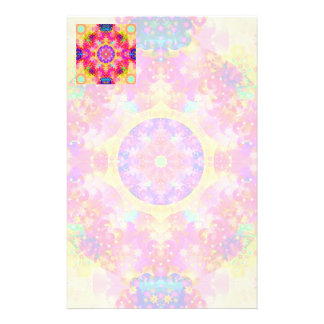 Pink and Yellow Kaleidoscope Fractal Stationery