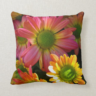 Pink and Yellow Mums Accent Pillow