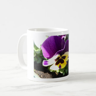 Pink and yellow pansy mug