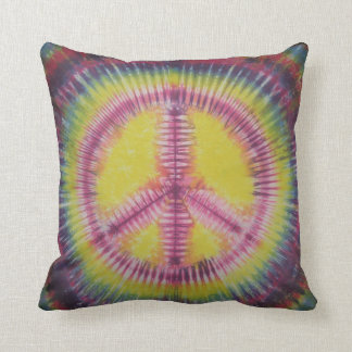 Pink and Yellow Peace Sign Tie Dye Pillow