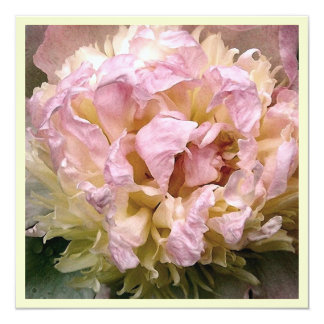 "Pink and Yellow Peony Bridal Shower Invitation 5.25"" Square Invitation Card"