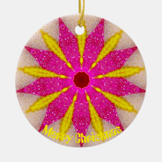 Pink and Yellow Pointsettia Fractal Christmas Ornament